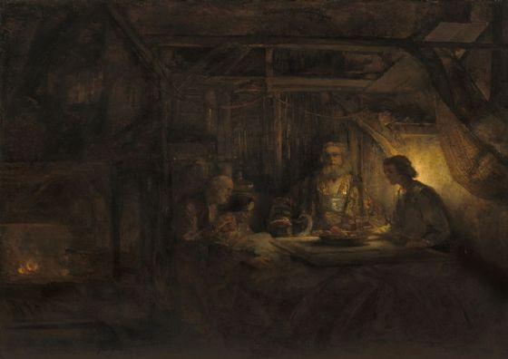 Rembrandt Harmensz van Rijn: Philemon and Baucis. Fine Art Print/Poster. Sizes: A4/A3/A2/A1 (003555)